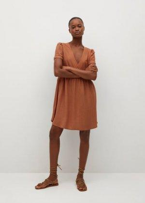 Короткое струящееся платье - Thalia8 Mango. Цвет: золотисто-оранжевый