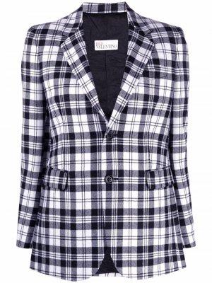 Однобортный пиджак в клетку тартан RED Valentino. Цвет: черный