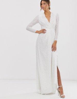 Свадебное платье с пайетками и глубоким вырезом Alexa-Белый ASOS EDITION
