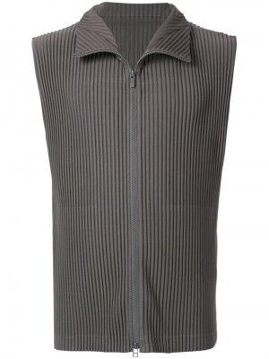 Флисовый жилет со складками Homme Plissé Issey Miyake. Цвет: серый