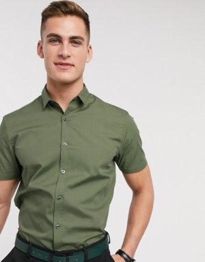 Рубашка цвета хаки из поплина с короткими рукавами New look-Зеленый цвет Look