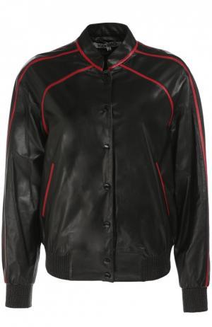 Кожаная куртка с контрастной вышивкой Kenzo. Цвет: черный