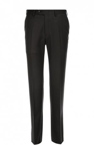 Классические шерстяные брюки с кожаной отделкой Brioni. Цвет: темно-серый