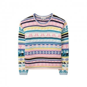 Хлопковый пуловер Lanvin. Цвет: разноцветный