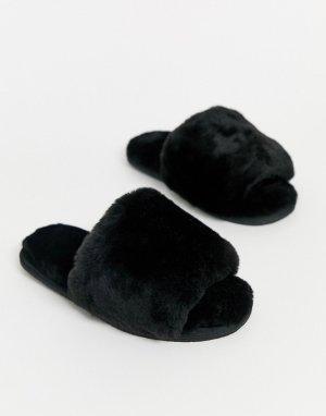 Черные тапочки из овчины Nola premium-Черный цвет ASOS DESIGN