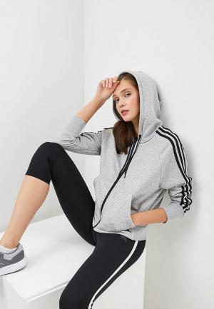 Толстовка adidas W MH 3S FZ HD. Цвет: серый