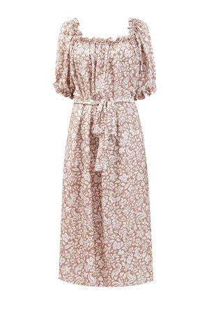 Платье-миди из струящегося шифона с оборками и съемным ремнем ALEXANDER TEREKHOV. Цвет: бежевый