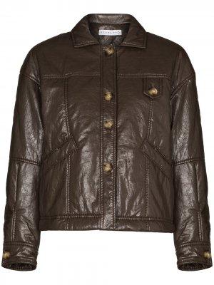 Куртка Pippa из искусственной кожи Rejina Pyo. Цвет: коричневый