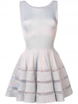 Расклешенное трикотажное платье с люрексом Alaïa Pre-Owned. Цвет: серебристый