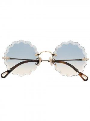Солнцезащитные очки Rosie в круглой оправе Chloé Eyewear. Цвет: золотистый