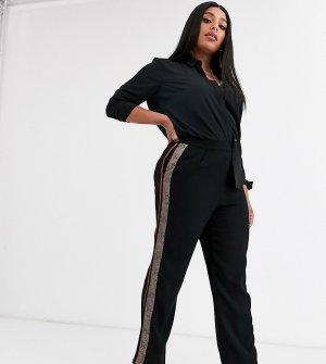 Свободные брюки с контрастными полосками по бокам -Черный Religion Plus