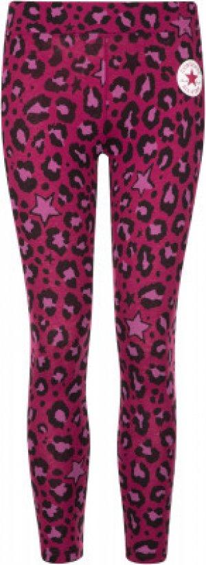 Легинсы для девочек A.O.P., размер 152 Converse. Цвет: розовый