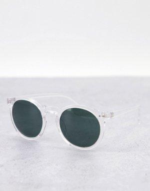 Солнцезащитные очки в круглой прозрачной оправе стиле унисекс -Прозрачный AJ Morgan