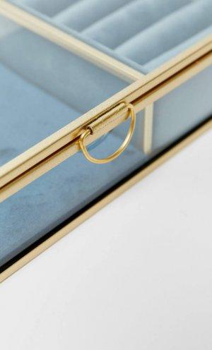 Бархатная Шкатулка Для Украшений Женская Коллекция Синий 103 Stradivarius. Цвет: синий
