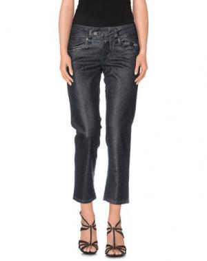 Джинсовые брюки-капри GALLIANO. Цвет: свинцово-серый