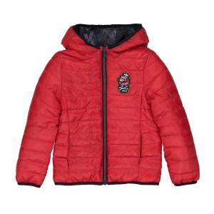 Куртка стеганая двусторонняя, 3-14 лет IKKS JUNIOR. Цвет: красный/рисунок темно-синий