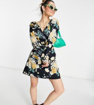 Платье с цветочным принтом, запахом и длинными рукавами Inspired-Черный цвет Reclaimed Vintage