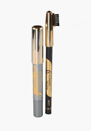 Набор для макияжа бровей Chatte Noire Карандаш + Карандаш-тени №112, 3,46. Цвет: разноцветный