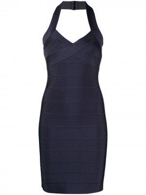 Приталенное платье с вырезом халтер Hervé Léger. Цвет: синий
