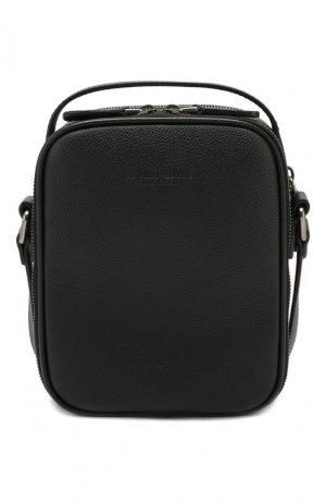 Кожаная сумка-планшет Giorgio Armani. Цвет: чёрный