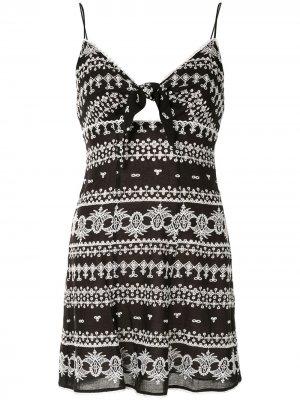 Платье мини с геометричным принтом Alice+Olivia. Цвет: черный
