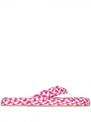 Плетеные вьетнамки Zimmermann. Цвет: розовый