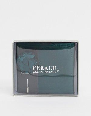 Однотонный платок-паше и булавка на лацкан пиджака -Зеленый Gianni Feraud