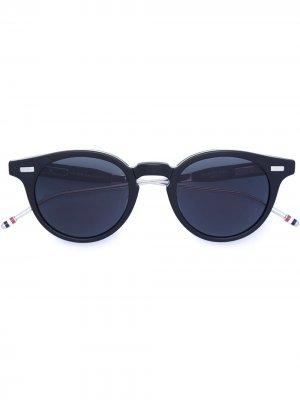 Складные солнцезащитные очки в круглой оправе Thom Browne Eyewear. Цвет: синий