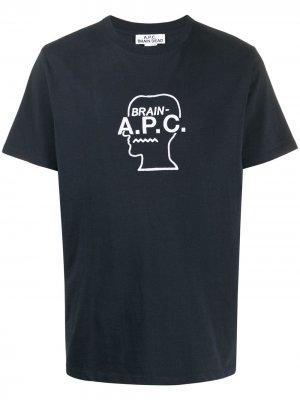 Футболка с вышитым логотипом A.P.C.. Цвет: синий
