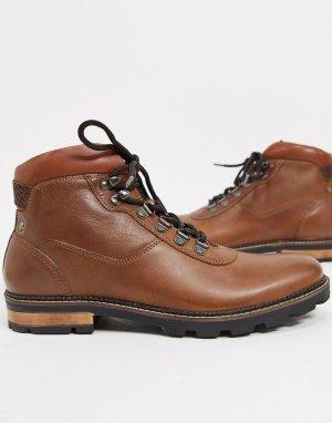 Светло-коричневые кожаные походные ботильоны на шнуровке -Коричневый Ben Sherman