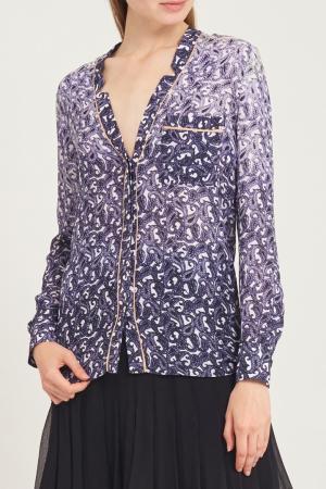 Шелковая блузка с принтом Yigal Azrouel. Цвет: фиолетовый