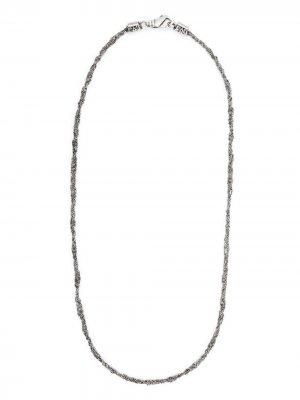 Плетеная цепочка на шею Emanuele Bicocchi. Цвет: серебристый