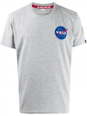 Футболка Space Shuttle с круглым вырезом Alpha Industries. Цвет: серый