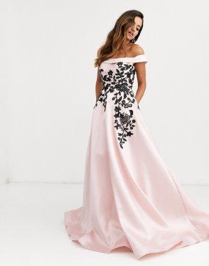 Платье для выпускного с открытыми плечами и цветочной отделкой -Черный Jovani