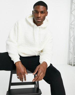 Плюшевый худи в стиле oversized белого цвета -Белый ASOS DESIGN