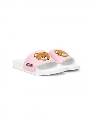Шлепанцы Teddy Bear с логотипом Moschino Kids. Цвет: белый