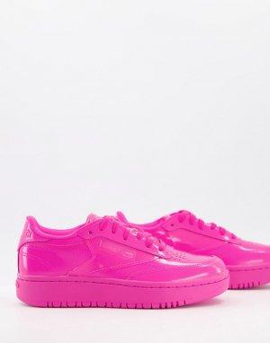 Ярко-розовые кроссовки x Cardi B Club Coated C Double-Розовый цвет Reebok