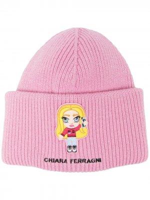 Шапка бини Chiara в рубчик Ferragni. Цвет: розовый