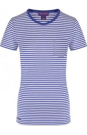 Хлопковая футболка в полоску с круглым вырезом Ralph Lauren. Цвет: синий