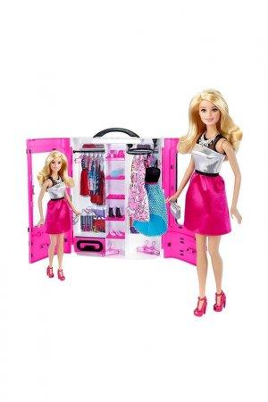 Шкаф с куклой, одеждой Barbie. Цвет: розовый