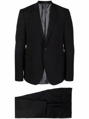 Шерстяной костюм с однобортным пиджаком Emporio Armani. Цвет: черный