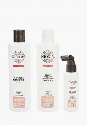 Набор для ухода за волосами Nioxin система 3: шампунь (300 мл), кондиционер маска (100 мл). Цвет: прозрачный