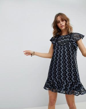 Платье мини с оборками Anna Sui. Цвет: мульти