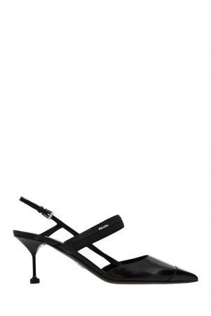 Черные кожаные слингбэки с логотипом Prada. Цвет: черный