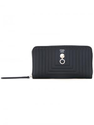 Стеганый кошелек с круговой молнией Fendi. Цвет: черный