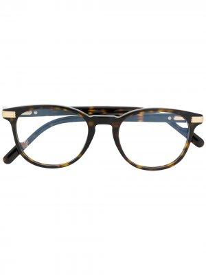 Очки Havana в круглой оправе черепаховой расцветки Cartier Eyewear. Цвет: коричневый