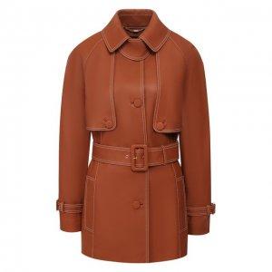Кожаная куртка Escada. Цвет: коричневый