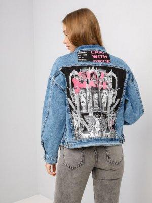 Куртка джинсовая ART SPRAY Black Star Wear. Цвет: голубой