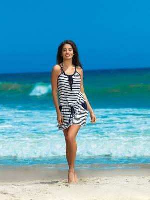 Платье Cote D'Amoor. Цвет: темно-синий, белый