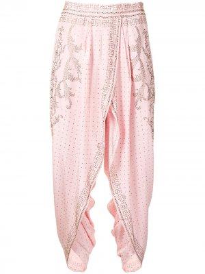 Укороченные брюки с кристаллами Camilla. Цвет: розовый
